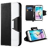 Galaxy S6 Edge Hülle,Vakoo [Flip Case] S6 Edge Bookstyle Handyhülle Premium PU-Leder Tasche Handy Etui Schutz Hülle für Samsung Galaxy S6 Edge (Schwarz Weiss)