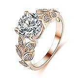 FEITONG Damen-Ring Blätter Strass Zirkonia Ringe Legierung Rings Verlobungsring Edelstahl Schmuck (Größe:7, Roségold)