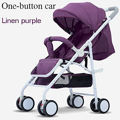 GUOJIUXIAO High Landscape Stroller, Reclining Lightweight Compact Kinderwagen Stoßdämpfer Kinderwagen Single Button Collection,Purple (Single Zu Double Stroller)