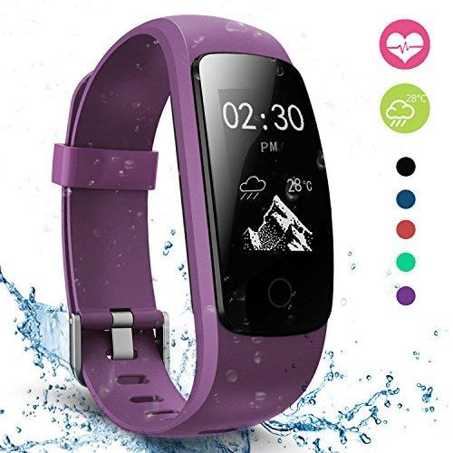 moreFit Slim Touch Wasserdicht Fitness Tracker Mit Herzfrequenz,Smart Fitness Armbanduhr Pulsuhr Schrittzähler,Bluetooth Schwimmen Activity Tracker Gps Für Damen/Herren,Lila