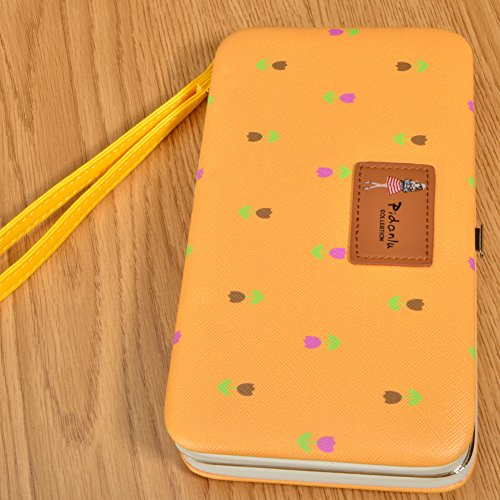 Portafogli da Donna Borsa con Foglia d'albero, Sunroyal Multifunzionale [Grande capacità] Smartphone Wristlet Custodia Case Cover per iPhone 7 /7Plus /6S /6S Plus /6 /6Plus /SE /5S, Samsung Galaxy S8  Modello 02