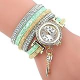 Uhren Damen, HUIHUI Geflochten Armbanduhren Günstige Uhren Wasserdicht Beliebte Casual Analoge Quarz Uhr Luxus Armband Coole Uhren Lederarmband Mädchen Frau Uhr (Grün)