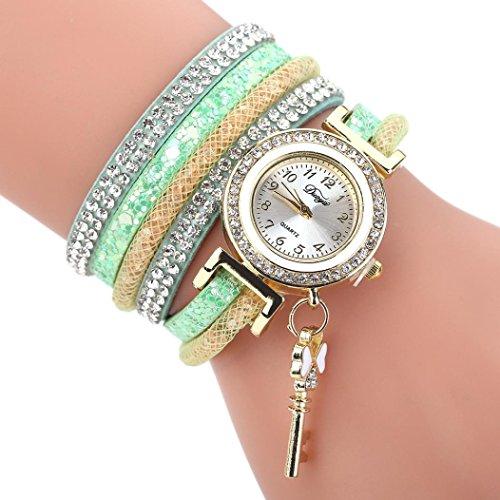 HUIHUI Uhren Damen, Geflochten Armbanduhren Günstige Uhren Wasserdicht Casual Analoge Quarz Uhr Armband Coole Uhren Lederarmband Mädchen Frau Uhr (Grün)