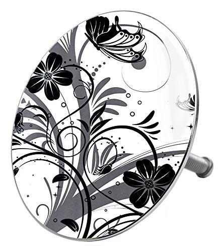 Badewannenstöpsel Black Flower, deckt den kompletten Abflussbereich ab, hochwertige Qualität ✶✶✶✶✶