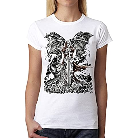 Cráneo Espada Horror Mujer Camiseta M-2XL Nuevo