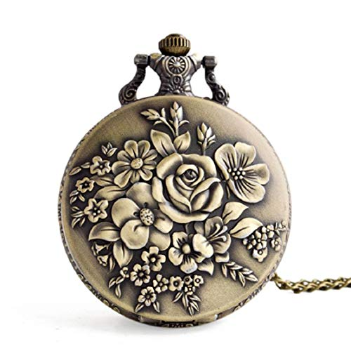Vaycally Edle Rose Hohl Taschenuhr Retro Blume Taschenuhr Quarz Mode Halskette Männer Frauen Mädchen Geschenke