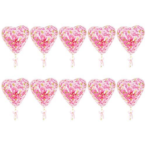 Ruiting Herz Confetti-Ballon-Kuchen-Deckel 10Set Rosa/Gold-Geburtstags-Party-Ballon-Dekor-Pailletten-Ballon-Kuchen-Deckel (Gold-kuchen-deckel)