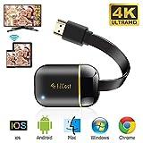 Wireless WiFi Display Dongle HDMI 4K, 5GHz+2.4GHz WiFi Display Empfänger, Mini Bildschirm Teilen Anzeigeempfänger Unterstützung Android/Windows/iOS/Mac/Miracast/Airplay/DLNA (Schwarz)