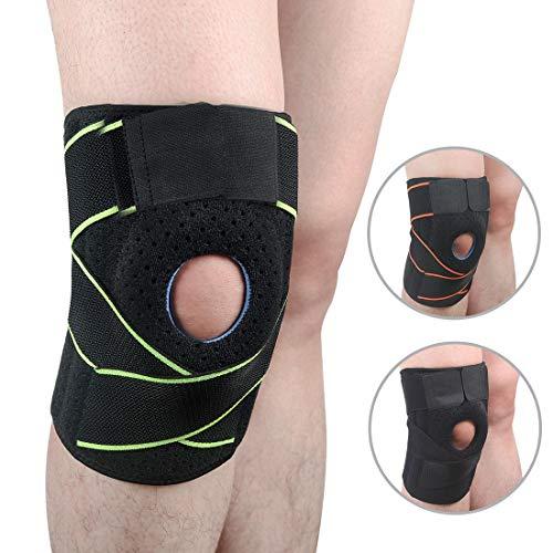 MRSDBTL Kniebandage Atmungsaktive Kniebandage mit verstellbarem Riemen Neopren-Knieschützer für Gelenkschmerzen, Arthritis, Laufen und Sport - Männer und Frauen,Grün