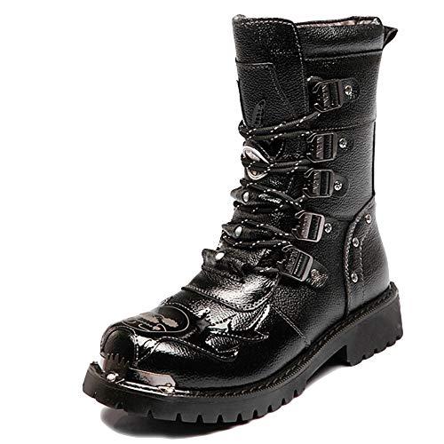Hombres Trekking Al Aire Libre Senderismo Botas Largas Ejército Militar Combate PU Negro Con Cordones Martin Boot Riding Clásico Antideslizante Botas Altas Impermeables Zapatos,Black-EU42=UK8=Labelsize42
