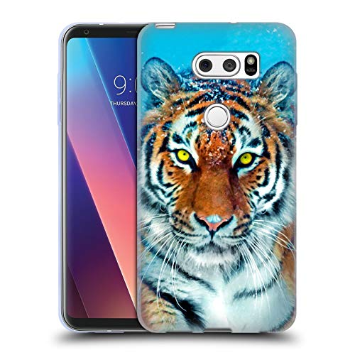 Head Case Designs Offizielle Aimee Stewart Gelber Tiger Tiere Soft Gel Huelle kompatibel mit LG V30 / V30S ThinQ / V35 ThinQ