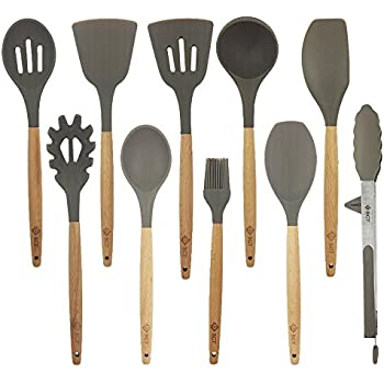 Bgt 10 Pcs Silicone Kitchen Utensils Set With Beech Wood