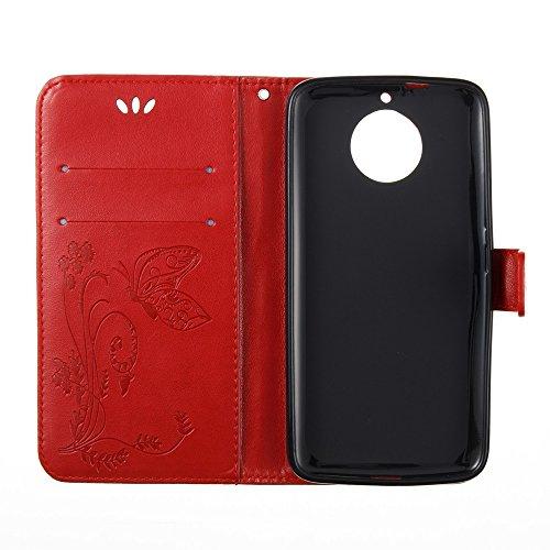 Solid Color Faux Leder Bookstyle Brieftasche Stand Case mit geprägten Blumen & Lanyard & Card Slots für MOTO G6 ( Color : Blue ) Red