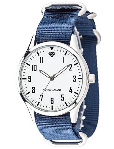 Yves Camani YC1084-B Orologio da Polso, Quadrante Analogico da Donna, Cinturino in Nylon, Colore Blu