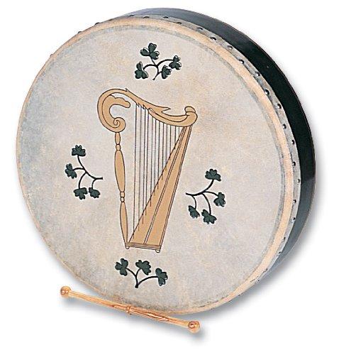 Performance Percussion H1149 Bodhran Irische Harfe 45,7 cm mit Schlägel und Tasche (Conga-kit)