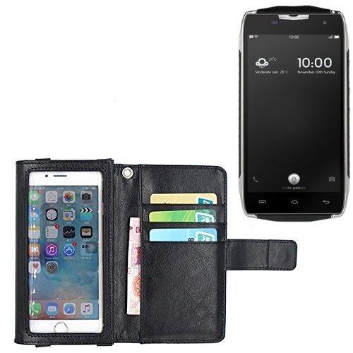 K-S-Trade Für Doogee T5 Schutz Hülle Case mit Displayschutz/Schutzfolie Flip Cover Wallet case Etui Hülle für Doogee T5 schwarz