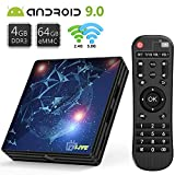 TVLIVE Android TV Box 9.0 【4G+64G】 Boitier Android TV ROM RK3318 Quad Core 64 bit Cortex-A53 Bluetooth 4.1 LAN 100M Dual-WiFi 2.4GHz/5GHz USB 3.0, Supporte 4K 60Hz Full HD / 3D / H.265 4K TV Box