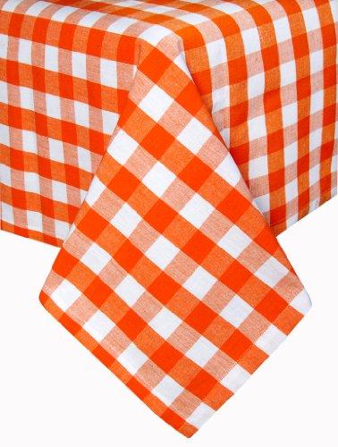 Homescapes Tischläufer Block Check orange weiß kariert 45 x 180 cm aus 100% reiner Baumwolle, Tischtuch waschbar - Block Check