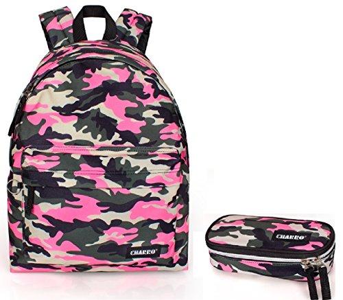 Charro zaino scuola americano mimetico fantasia militare rosa fluo + astuccio scuola portapastelli cartella ragazza medie superiori liceo fucsia