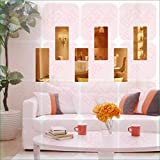 BEST DECOR Frame Golden(pack Of 6)Acrylic Sticker, 3D Acrylic Sticker, 3D Mirror, 3D Acrylic Wall Sticker, 3D Acrylic Stickers For Wall, 3D Acrylic Mirror Stickers For Living Room, Bedroom, Kids Room, 3D Acrylic Mural For Home & Offices Décor 2