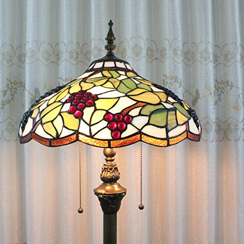 Top Tiffany 16-Inch Grapes European Pastoral Style Elegant Luxury Creative Handmade Stained Glass Tiffany Floor Lamp on Line