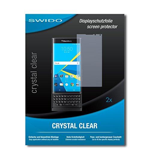 SWIDO Schutzfolie für BlackBerry Priv [2 Stück] Kristall-Klar, Hoher Härtegrad, Schutz vor Öl, Staub & Kratzer/Glasfolie, Bildschirmschutz, Bildschirmschutzfolie, Panzerglas-Folie
