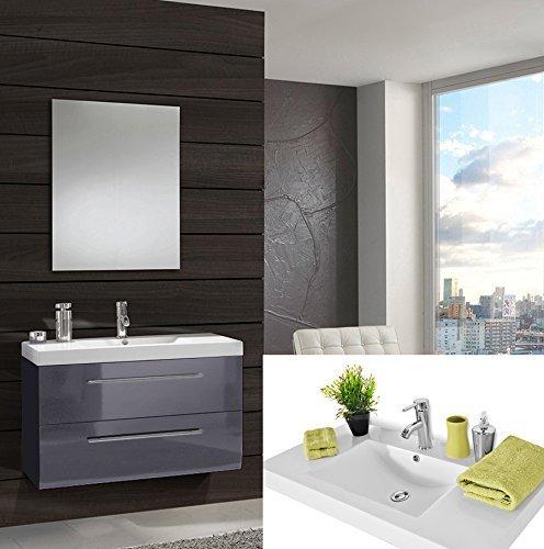 #SAM® Design Badmöbel-Set Zürich light, 90 cm, in Hochglanz grau, 2tlg. Designer-Badezimmer mit Softclose-Funktion, 1 Waschplatz mit Mineralgussbecken und 1 Spiegel#