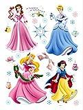 1art1 75295 Disney Prinzessin - Fröhliche Winter Feiertage, Belle, Cinderella, Aurora, Schneewittchen Wand-Tattoo Aufkleber Poster-Sticker 85 x 65 cm