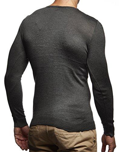 LEIF NELSON Herren Hoodie Strickpullover Pullover Basic V-Ausschnitt V-Neck Sweatshirt longsleeve langarm Sweater Feinstrick LN1610 Anthrazit-Schwarz