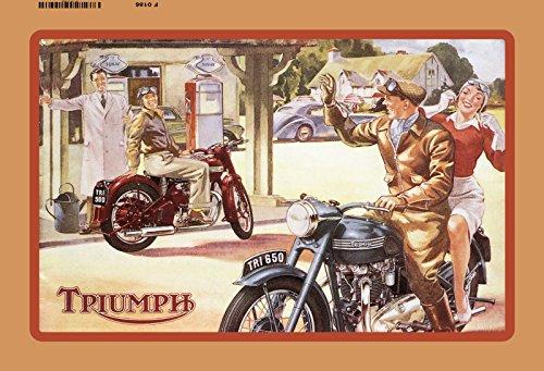 Schatzmix Triumph Motorrad am tankstelle blechschild