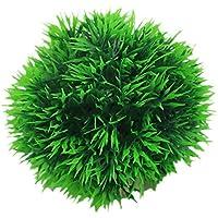 ZHOUBA - Bola de hierba artificial redonda para acuario, plástico, verde, decoración de acuario