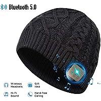EVERSEE Bluetooth Beanie Hat, 5.0 Bluetooth Hat, Inalámbrico Auricular Gorro con estéreo HD y Mic Incorporado, Sombrero Lavable para Correr para Hombres Regalos, Hombres/Mujeres (Negro-2)