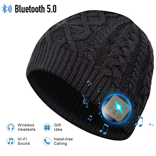 Cappello Bluetooth Idee Regalo Uomo - Cappello Uomo Donna Invernali, Berretto Bluetooth 5.0 Musica Cappello Migliori Regali Natale, Cappello Sportivo da Esterno Campeggio Sci, Ultra Morbidi Lavabili