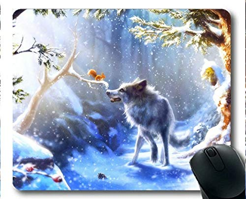 Yanteng-Mauspad, Schnee Winter Eichhörnchen Wald Wolf Kunst Gummi Gaming Mouse Pad (Multicolor) -