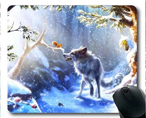 Yanteng-Mauspad, Schnee Winter Eichhörnchen Wald Wolf Kunst Gummi Gaming Mouse Pad (Multicolor)