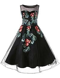 Vintage Vestido Mujer Bordado Floral Vestido Trapecio Tul Negro sin Manga de Fiesta Cóctel, S