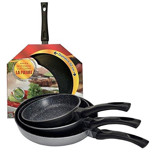 Kitchen Pro - Lot de 4 Poêles en Pierre Tous Feux Dont Induction diamètre 20/24/28/32 cm + 4 disques Anti-Rayures