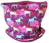 Wollhuhn Warmes Halstuch, Schal, pink/beere mit Pony-Motiv/Pferden, Innenseite Fleece, für Mädchen 20151115