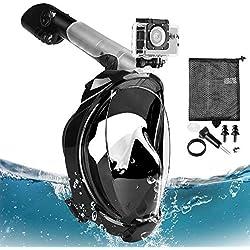Eastshining Masque de Plongée Masque Snorkeling Plein Visage 180° Visible Anti-buée Anti-Fuite Set de Plongée avec La Support pour Caméra GoPro de Sport Adapté pour Adultes et Enfants (Noir, L/XL)