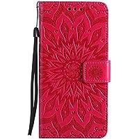 """Uposao Handyhülle für iPhone 6S Plus 5.5"""" Leder Tasche Schutzhülle Brieftasche Handytasche Retro Vintage Henna Mandala Blumen Ledertasche Lederhülle Klapphülle Case Flip Cover,Rose Rot"""