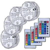 Lumière submersible de LED,Lampes sous-marines LED Éclairage Submersible Multi-couleur avec télécommande Étanche IP68 pour Piscine/Décorations//Fête Lot de 4