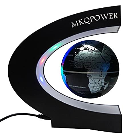 Levitation globe with LED,MKQPOWER Floating Globe with LED Light Rotating Magnetic Mysteriously Suspended in Air World Map as Desk Decoration,Great Teachers'Day, Christmas gift
