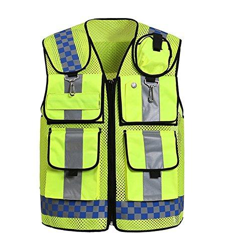Sk studio gilet di sicurezza ad alta visibilità riflettente multi tasche giubbotto di sicurezza da lavoro,moto verde 2 xl