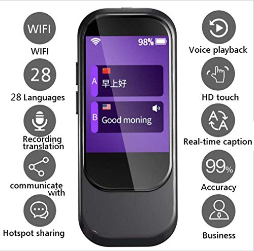 Smart Language Translator Device, Voice Translator WiFi 2.4 Inch IPS Capacitive Touch Screen Support...