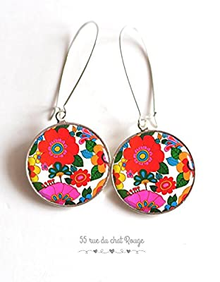 Boucles d'oreilles cabochon Seventies, fleurs très colorées, multicouleur