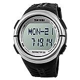 SKMEI 1058SLVR Healtmeter Digital Sports Watch with Peodmeter , Pulse Rate , Calories Count - For Men - Silver Dial
