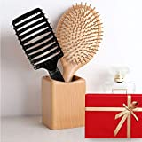 VSADEY 2PC Pettine Professionale Spazzola per Capelli Massaggio Anti-statico Capelli in Legno+Spazzola Capelli 100% Setole di Cinghiale Naturali Districante Migliore regalo per le donne Uomini