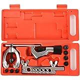 Homdox Coffret Double Evaseur Outil d'évasement Tuyau de Frein 4-6-8-10mm Torchage Pince Cintrage avec 7 Découpes de Différentes Tailles