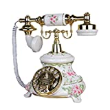Retro Telefon FJH Off-White Vintage Handy Stereo Carving Harz Metall Maschinen Doppel Ring Ton Wählscheibe Idyllische Mode Kreative Europäische Home Office 18 cm * 22 cm * 26 cm