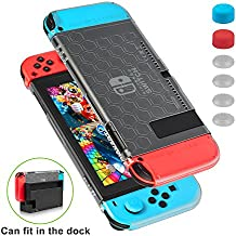 Funda para Nintendo Switch - Younik funda protectiva compatible con el dock resistente a rayones y ultra delgada con 6 tapas de pulgar con agarre para la consola Nintendo Switch y el control Joy-con
